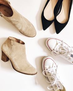 fall fashion must-haves: madewell suede ankle boots, black suede ballet flats, white converse sneakers