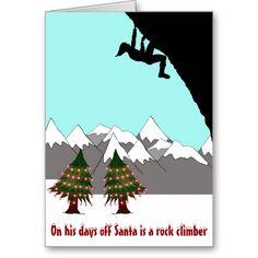 Santa is a rock climber Christmas card