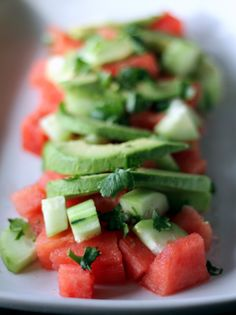 watermelon, avocado and cucumber salad....what an interesting combo (with lime juice and cilantro)