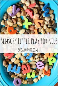 Letter learning sensory bin