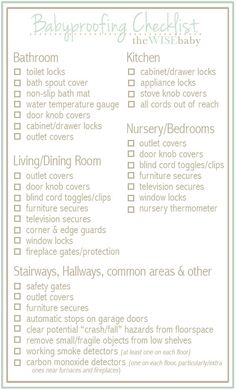 Handy room-by-room babyproofing checklist Baby Proof House, My Bebe, Babe, Baby Checklist, Baby Safety, Safety Tips, Childproofing, Baby Health, Everything Baby