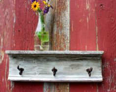 Authentic Antique Barn wood French Country Cottage Coat Rack Shelf