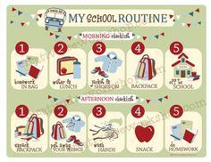 School Routine Chart - Boy Theme