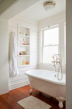 Bead board in the bathroom for a private tub escape
