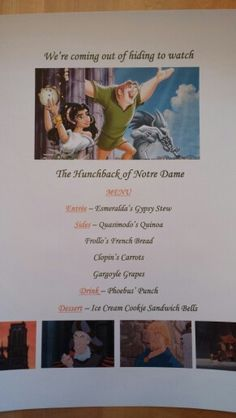 Disney Dinner Nights - The Hunchback of Notre Dame Disney Menus, Disney Dinner, Disney Recipes, Disney Food, Disney Family Movies, Disney Movies To Watch, Kid Movies, Movie Night For Kids, Dinner And A Movie