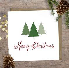 Christmas card, Simple Merry Christmas card, Seasons Greetings, Christmas card with trees