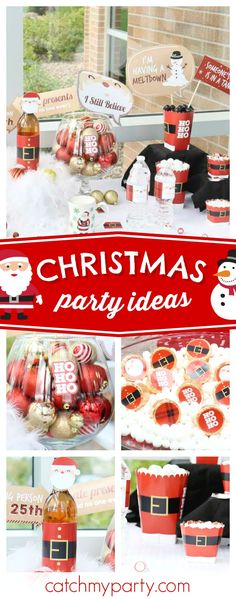 Santa's coming!! Check out this fun Christmas party! The photo booth props are so cool! See more party ideas and share yours at CatchMyParty.com #christmas #holidays #santa