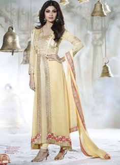 Elegant Yellow Georgette Embroidery Stone Work Anarkali Suit #salwarsuit #Bollywood  http://www.angelnx.com/Bollywood