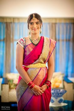 Vibrant South Indian Bride in a Raspberry Shaded Silk Saree Indian Bridal Sarees, Indian Silk Sarees, Indian Bridal Wear, Indian Wear, Indian Style, Beautiful Blouses, Beautiful Saree, Beautiful Bride, South Indian Weddings