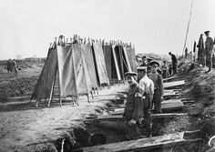 23 September 1916, British strecher bearers drying their stretchers at Bronfay Farm, near Bray-sur-Somme