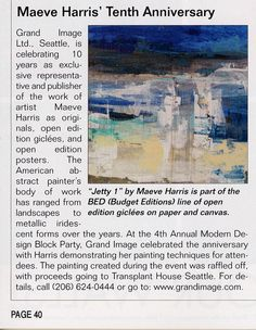 Great mention in September's Art World News about our 10 year anniversary representing American Abstract artist Maeve Harris.