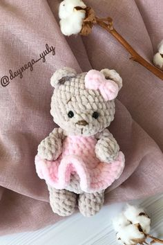 This amigurumi pattern is free and easy to crochet. Create your own a teddy bear doll in dress. You'll need mm crochet hook and Himalaya Dolphin Baby yarn. Doll Patterns Free, Crochet Animal Patterns, Stuffed Animal Patterns, Knitting Patterns Free, Bear Patterns, Crochet Teddy, Crochet Bear, Crochet Dolls, Free Crochet