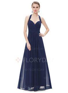 Dress - $99.23 - Solid Ruffles Halter Neckline Maxi A-line Dress (1955101645)