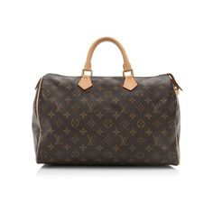 Pre-Owned Louis Vuitton Monogram Canvas Speedy 35 Satchel (735 CHF) ❤ liked on Polyvore featuring bags, handbags, brown, brown satchel, brown satchel handbag, monogrammed purses, louis vuitton and satchel purses