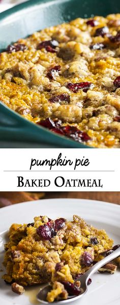 Pumpkin baked oatmeal is a healthy and filling breakfast for those days when you…