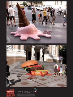 Cloudy With a Chance of Meatballs / / 8 Creative Outdoor Ads You've Gotta See  #Creative #Advertising
