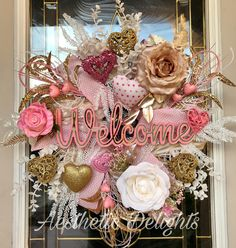 Pink and Gold Welcome Wreath- Valentine's Wreath- #pink #roses #ValentinesDecor #gold #FrontDoorWreath #ValentinesWreath #HeartWreath #WelcomeWreath #LoveWreathe #FloralWreath