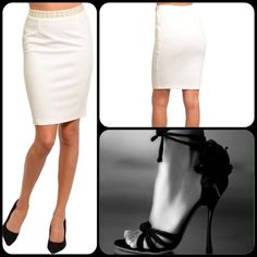 Off White Embellished Skirt This lovely skirt features a sequin embellished waist band. 96% Polyester, 4% Spandex. Great addition to your wardrobe. Can be styled with different colors. (This closet does not trade or use PayPal ) Foreign Exchange Skirts Pencil