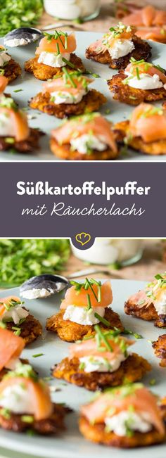 Süßkartoffelpuffer mit Griechischem Joghurt und Räucherlachs The classic with a difference: mini potato pancakes with salmon enchant your guests even before the first course and should not be missing at any party. Sweet Potato Fritters, Sweet Potato Pancakes, Mini Pancakes, Shellfish Recipes, Snacks Für Party, Smoked Salmon, Greek Recipes, Salmon Recipes, Soul Food