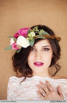 rustic wedding updo; bright lipstick