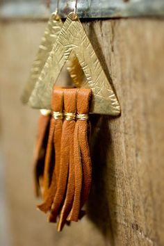 Boho Gold Triangle and Leather Fringe Earrings on Etsy, $45.00