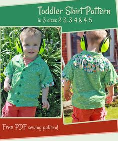 This is a free sewing pattern for a cute little boys shirt. It's a short sleeved casual shirt, featuring a western style yoke. Comes in 3 sizes, and Kids Clothes Patterns, Childrens Sewing Patterns, Sewing Kids Clothes, Kids Patterns, Sewing For Kids, Baby Sewing, Sewing Patterns Free, Free Sewing, Pattern Sewing