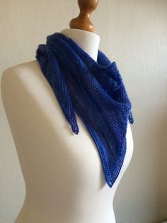 Hand Knitted Merino and Silk Triangle Scarf