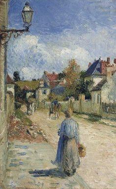 """Camille Pissarro (1830-1903) ~ """"Pontoise, Rue de l'Hermitage"""", 1879 (Détail) ~ Huile sur Toile Originale 37 x 46 cm"""