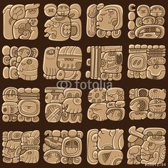 Seamless pattern with written symbols of the Maya - Buy this stock vector and explore similar vectors at Adobe Stock Ancient Symbols, Ancient Art, Viking Symbols, Egyptian Symbols, Viking Runes, Mayan Tattoos, Inca Tattoo, Indian Tattoos, Mayan Glyphs
