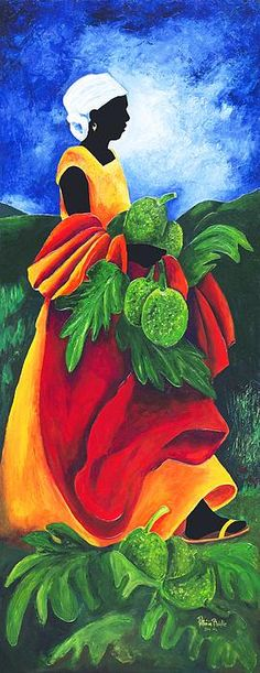 Patricia Brintle Poster Print Wall Art Print entitled Season Breadfruit, None Black Art, Black Women Art, Art Haïtien, Art Tropical, Tableau Pop Art, Art Visage, Afrique Art, Haitian Art, African Paintings