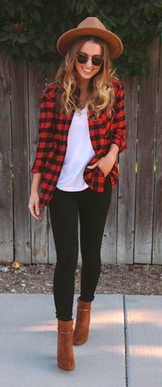 #fall #outfits women's red flannel dress shirt