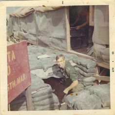 Otis at the bunker just outside of the tent for Delta Company, 1st Battalion, 5th Marines, 1st Marine Division, An Hoa, Vietnam  April 1969