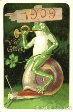 viel Glück-Good Luck--German New Year's card, 1909, frog riding a snail and playing a bugle