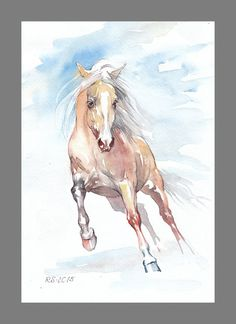 Wild red-haired running Horse painting inches Art Print from the Original Watercolors Pai Watercolor Horse, Watercolor Paintings, Watercolors, White Arabian Horse, White Horse Painting, Bay Horse, Running Horses, Equine Art, Horse Art
