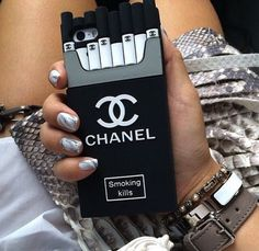 Phone cover: black, chanel, smoking kills, iphone cover, iphone case, iphone, iphone 5 case, iphone 6 case, girl, girly, gossip girl, grunge, classy, spring, summer outfits, urban - Wheretoget