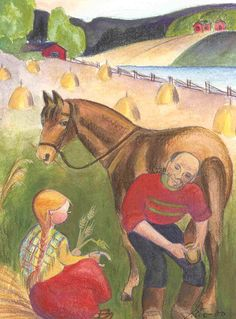 Horse shoeing, Mirja Clement is a Finnish born American artist