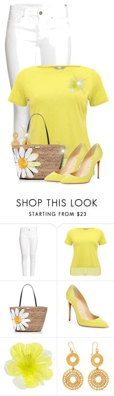 """White & Yellow"" by majezy ❤ liked on Polyvore featuring H&M, M&Co, Kate Spade, Christian Louboutin and DOUUOD"