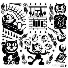 Felix the cat and skulls Flash Art Tattoos, Body Art Tattoos, Sleeve Tattoos, Atrapasueños Tattoo, Tattoo Drawings, Vintage Cartoons, Old Cartoons, Trendy Tattoos, Black Tattoos
