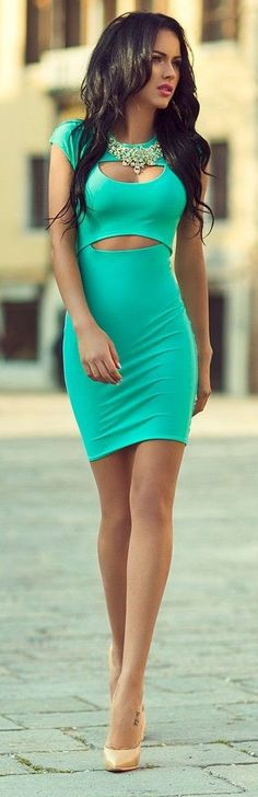 Mint green silk Bodycon Dress with nude pumps. An Ideal spring look