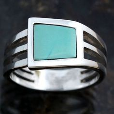Mens Ring Solid Sterling Silver Turquoise Ring  by JewelryAndGems, $76.00