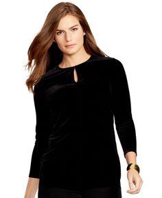 Lauren Ralph Lauren Plus Size Keyhole Jersey Top