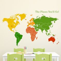 """Wall Decal 36""""W World Map of Continents & Map Markers Vinyl Sticker on Etsy, $64.00"""