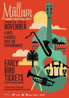 mullum music festival concert poster.  influences of art deco