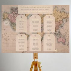 Vintage travel map table plan designed by Rodo Creative. Perfect for a couple hosting a wedding abroad or for the couple who love to travel together. Wedding Table Seating, Wedding Table Names, Wedding Place Cards, Wedding Centerpieces, Bridal Decorations, Centrepieces, Table Decorations, Travel Theme Decor, Vintage Travel Themes