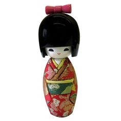 """Kokeshi dolls are the most popular traditional folk-crafts in Japan. It originated in the Tohoku region (Northeast Japan). Our Red Fabric Kokeshi Doll makes a unique accent for any girl's room or the perfect gift to family or friends. The fabric kimono is decorated with metallic gold. 6"""" tall Price: $14.95"""