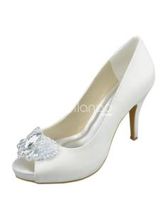 Ivory Beading Peep Toe Bow Silk And Satin Wedding Bridal Shoes. See More Bridal Shoes at http://www.ourgreatshop.com/Bridal-Shoes-C919.aspx