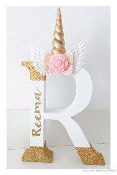 Freestanding personalised Unicorn letter, unicorn bedroom decor, letter shelfie, initial letter, unicorn shelfie