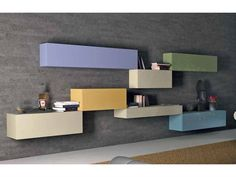Sectional Lacquered Storage Wall by Daniele Lago