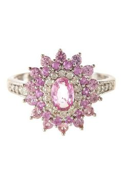 Pink Sapphire & White Diamond Floral Ring