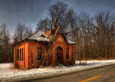 An abandoned one room school house near Decatur, Indiana.